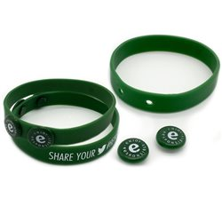 Silicone wristband with plastic tokens